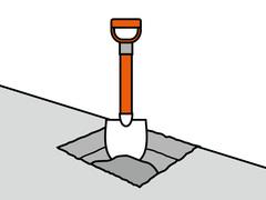 Step 2: Fundament-Löcher ausheben